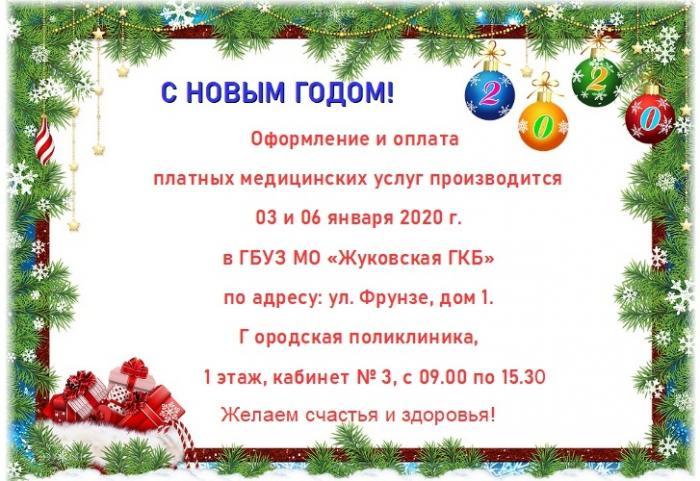 Оформление и оплата платных медицинских услуг производиться 03 и 06 января 2020 г.