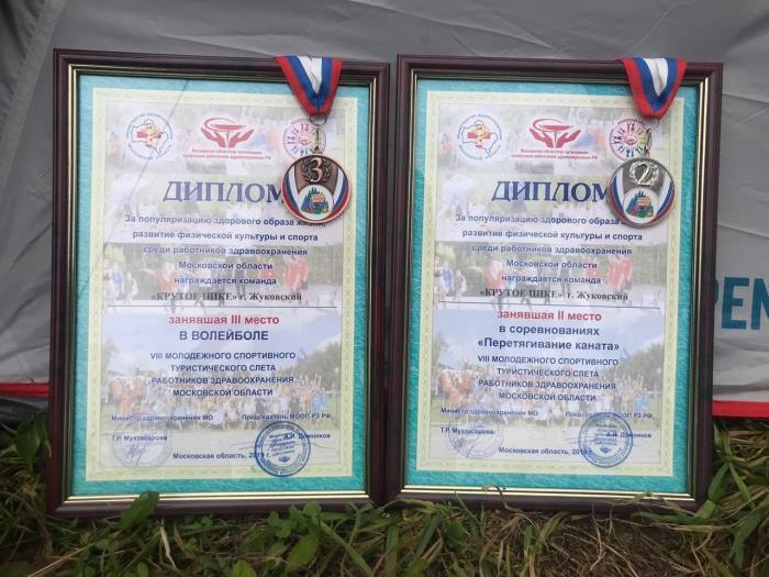 Спортивная команда Жуковской ГКБ заняла 2 место в перетягивании каната и 3 место в соревнованиях по волейболу, в  рамках ежегодного молодежного спортивного туристического слёта работников здравоохранения Московской области