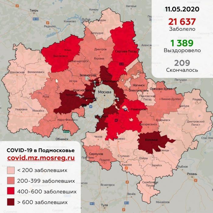 По данным оперативного штаба в Жуковском сегодня, 11 мая, зафиксирован 222 случай заболеваний коронавирусной инфекции (+ 31 по сравнению с 10 мая).
